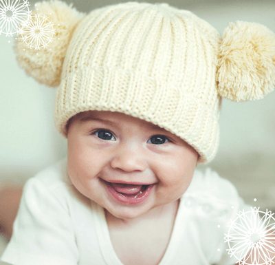 Baby with knitted cap