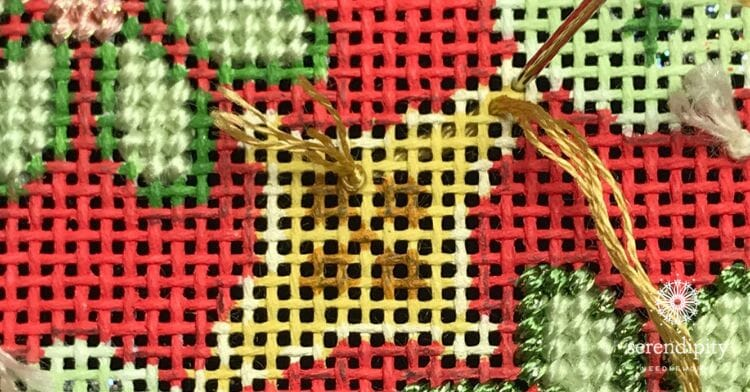 Starting to stitch an irregular shape in basketweave...