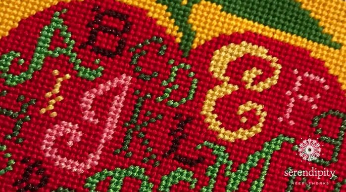 """""""Apple Sampler"""" by Birds of a Feather stitched in diagonal tent stitch (a.k.a. basketweave)."""