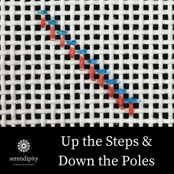 """Stitch """"up the steps"""" and """"down the poles"""" when working in diagonal tent stitch."""