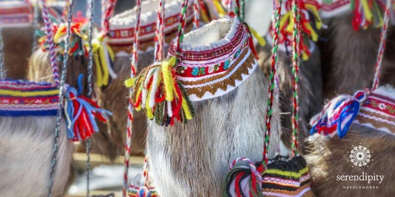 Sámi reindeer fur bags for sale at the Jokkmokk Winter Market.