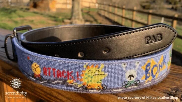The binding stitch prevents the edges of a hand stitched belt from being damaged from daily wear.
