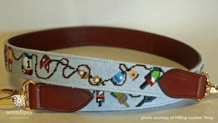 Needlepoint belts can be finished into purse and camera straps by the talented folks at Hill Top Leather Shop.