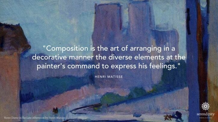 """""""Composition is the art of arranging in a decorative manner the diverse elements at the painter's command to express his feelings."""" - Henri Matisse"""