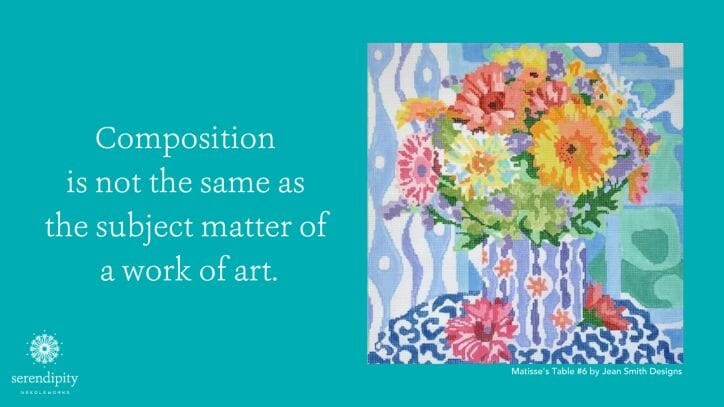 Composition is not the same as the subject matter of a work of art.