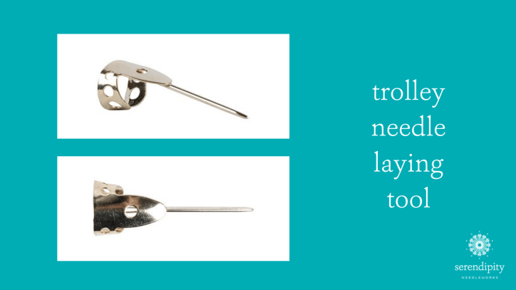 A trolley needle is a unique type of laying tool that you wear on your finger or thumb.