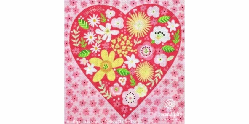 Melissa Shirley's Floral Heart design is a terrific canvas for using knotted stitches to add texture.