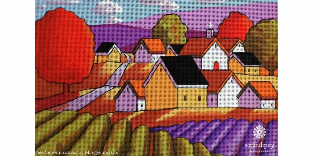 Lavender Fields by Maggie & Co. is a fun canvas to try some slanted stitches on!