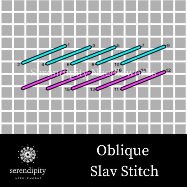 The oblique Slav stitch is an oblique stitch.