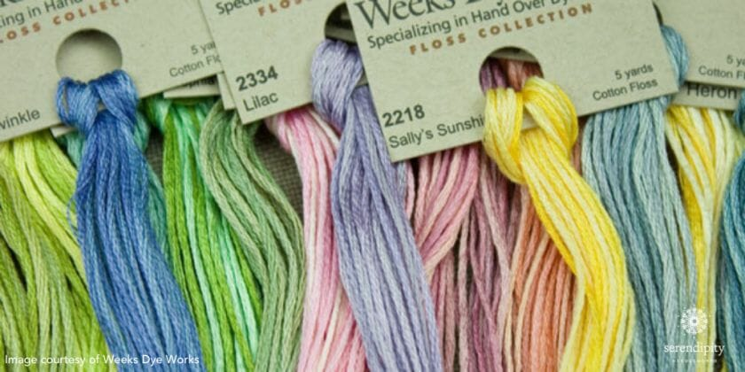 Weeks Dye Works hand over-dyed cotton floss is one of my favorite threads.