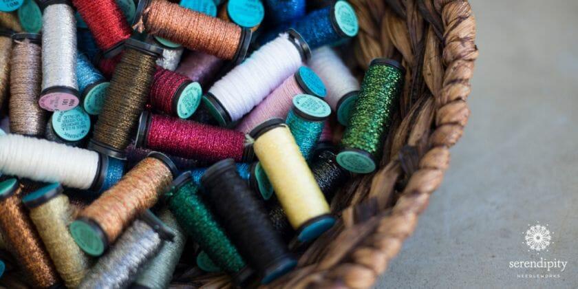 Kreinik tapestry braid #12 is a terrific metallic thread to use on 18 mesh needlepoint canvas.