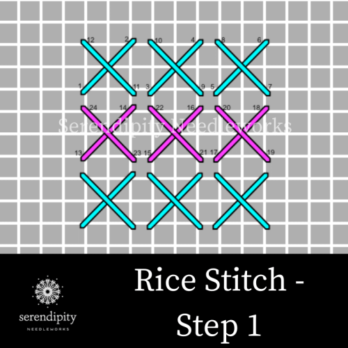 Step 1 of the rice stitch