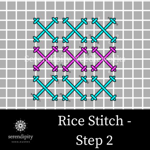Step 2 of the rice stitch