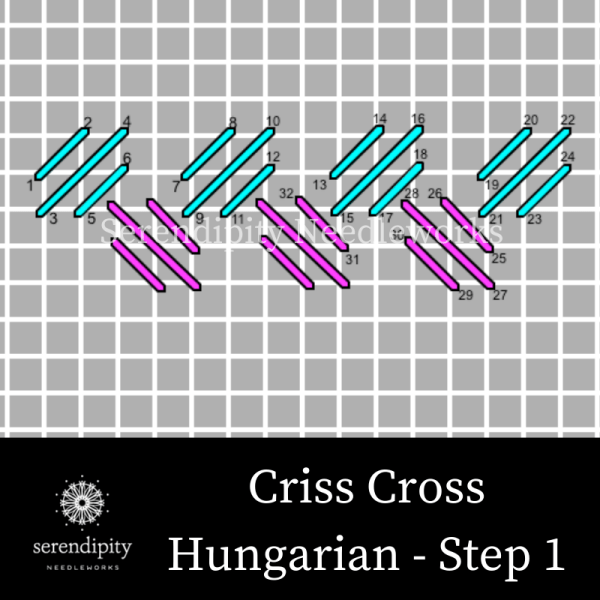 Criss Cross Hungarian Stitch step 1