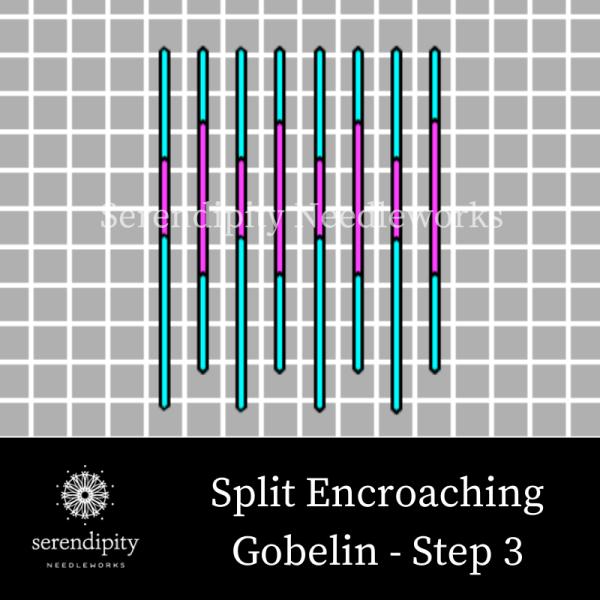 Split Encroaching Gobelin Stitch step 3