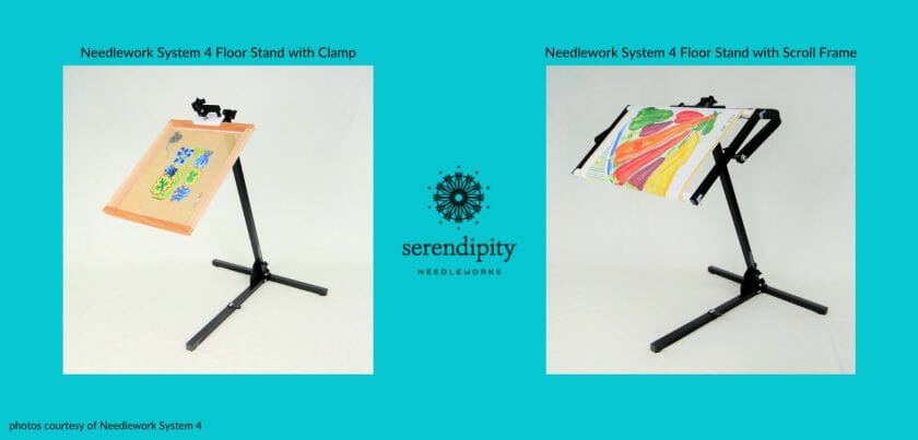 Needlework System 4 Floor Stands can accommodate either a scroll frame or a clamp for stretcher bar frames.