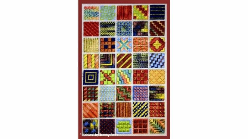 """""""Inchies"""" by Kathy Rees is a terrific beginner counted canvas needlepoint design"""