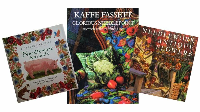 Charted needlepoint designs by Kaffe Fassett and Elizabeth Bradley