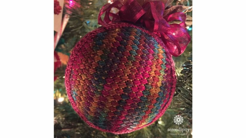 Counted canvas needlepoint designs make terrific holiday ornaments.
