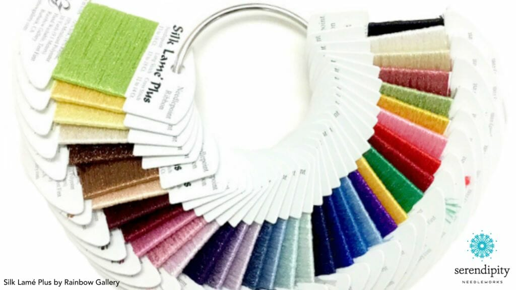 Silk Lamé Plus is a needlepoint ribbon from Rainbow Gallery.