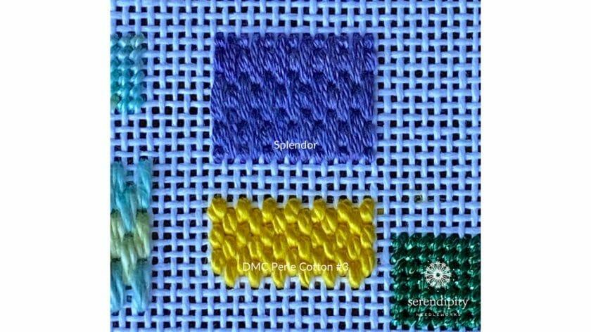 Brick stitch worked in DMC Perle Cotton #3 on 18 mesh canvas